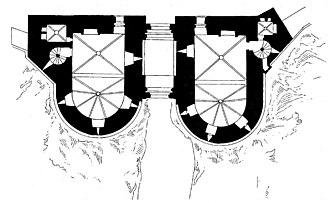 Fort Saint-André (Villeneuve-lès-Avignon) - Plan of the twin towers that form the gatehouse