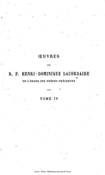 File:Lacordaire - Œuvres du R.P. Henri-Dominique Lacordaire, tome 4 - Conférences de Notre-Dame de Paris.djvu