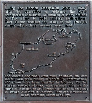 Alderney - Alderney camps memorial plaque