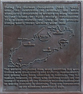 Alderney - Alderney camps memorial plaque