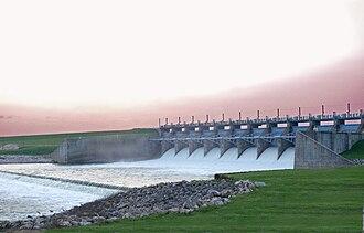 Lake Livingston - Downstream Side of Lake Livingston Dam Near Sundown