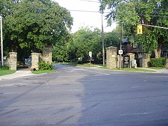 Baby Point - Stone gates at the intersection of Jane Street and Baby Point Road acts as the entrance for the neighbourhood.