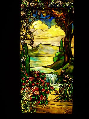 Landscape with Waterfall - Tiffany Studios, ea...