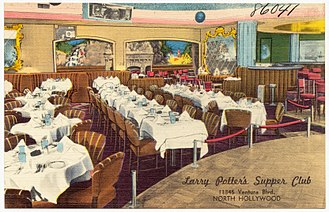 Supper club - Postcard for Larry Potter's Supper Club, North Hollywood