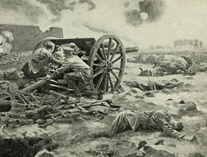 Action at Néry - An artist's impression of the last gun of L Battery in action.