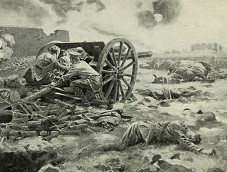 Affair of Néry - An artist's impression of the last gun of L Battery in action.