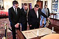 Latvian Foreign Minister Rinkevics, Lithuanian Foreign Minister Linkevicius, and Estonian Foreign Minister Mikser Look at the Desk on Which the Treaty of Paris Was Signed in 1783 (32888891053).jpg