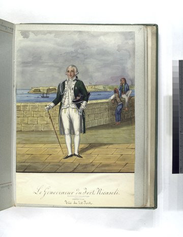 18th century painting of the Hospitaller Governor of Fort Ricasoli, with the fort itself in the background