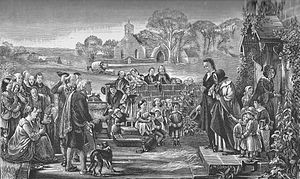 Tullibody - Leaving the Manse (engraving J. M. Corner) based on Quitting The Manse (oil painting G. Harvey) - featuring Tullibody Old Kirk
