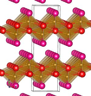Lepidocrocite - Layered crystal structure of lepidocrocite. Iron atoms shown as brown spheres; lattice oxygen as red spheres; and hydroxyl oxygen as magenta spheres. Hydrogen atoms are not shown.