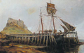 Lime staithes near Holy Island Castle by Ralph Hedley.png