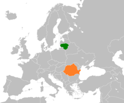 Map indicating locations of Lithuania and Romania