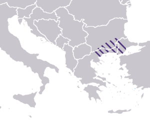 Macedonia (theme) - Approximate widest extent of the thema of Macedonia, superimposed on modern borders.