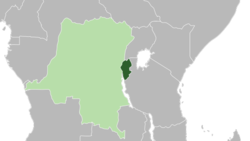 Ruanda-Urundi (verde escuro) representado dentro do império colonial belga (verde claro), c.  1935