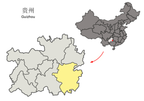 Location of Qiandongnan Prefecture within Guizhou (China).png