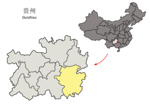 Qiandongnan Miao and Dong Autonomous Prefecture - Image: Location of Qiandongnan Prefecture within Guizhou (China)