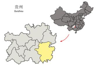Qiandongnan Miao and Dong Autonomous Prefecture - Image: Location of Qiandongnan Prefecture within Guizhou (China)