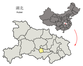 Location of Qianjiang City jurisdiction in Hubei