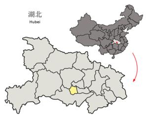 Qianjiang, Hubei - Image: Location of Qianjiang within Hubei (China)