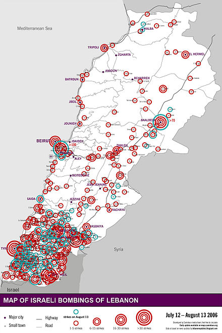 Areas in Lebanon targeted by Israeli bombing, 12 July to 13 August 2006 Locations bombed Aug13 no fact box.jpg