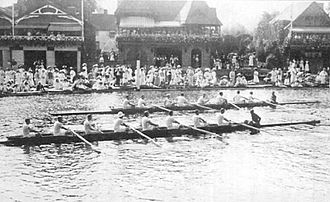 Rowing at the 1908 Summer Olympics – Men's eight - Quarterfinal 2: Leander (on the outside) vs. Hungary