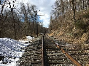 Looking down the former West Chester Line towards West Chester near the former Darlington station in 2017.jpg