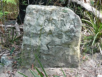 Old stone sign on Lorna Pass, near the Lane Cove River Lorna Pass Thornleigh.jpg