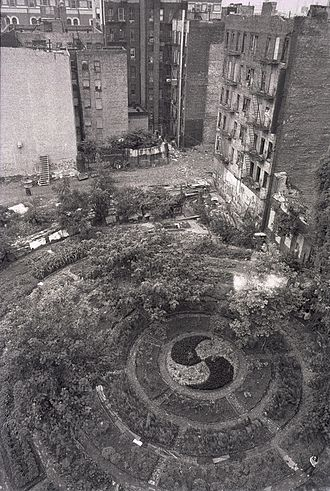 Guerrilla gardening - Adam Purple's urban garden on the Lower East Side of Manhattan in 1984.