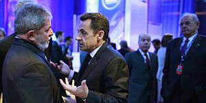 2010 Nuclear Security Summit - The presidents of Brazil, Lula da Silva, and France, Nicolas Sarkozy. Nelson Jobim, the Brazilian Minister of Defense, is in the background.