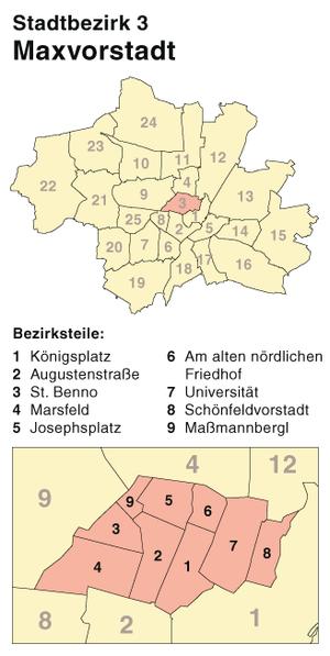 Maxvorstadt - Image: München Stadtbezirk 03 (Karte) Maxvorstadt