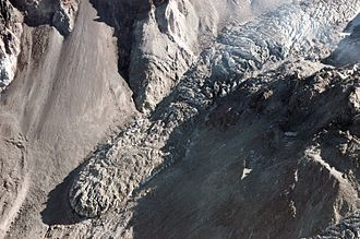 Icefall - A small icefall on east lobe of the new Crater Glacier on Mount Saint Helens.