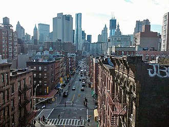 Madison Street (Manhattan) - Looking south down Madison Street as seen from the Manhattan Bridge.