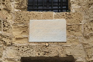 Wignacourt Tower - Marble plaque at the tower commemorating its restoration by Din l-Art Ħelwa