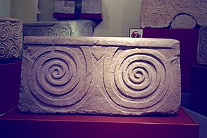 History of Malta - Spiral motif from one of the megalithic temples, now at the National Museum of Archaeology