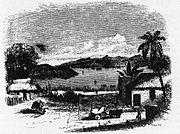Managua 1849. Blick vom Strand auf den Managuasee. Skizze von Ephraim George Squier