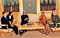 Manmohan Singh having a meeting before starts a banquet lunch hosted by the President of the Russian Federation, Mr. Dmitry A. Medvedev and Mrs. Svetlana Medvedeva, in Moscow, Russia. Smt. Gursharan Kaur is also seen.jpg