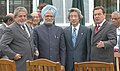 Manmohan Singh with the President of Brazil, Mr. Luiz Inacio Lula Da Silva, the Prime Minister of Japan, Mr. Junichiro Koizumi and the Chancellor of Federal Republic of Germany (1).jpg