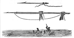 "Harpoon - ""Manner in which Natives of the East Coast strike turtle."" Near Cooktown, Australia. From Phillip Parker King's Survey. 1818."