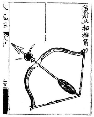 History of gunpowder - A fire arrow utilizing a bag of gunpowder as incendiary. As depicted in the Huolongjing.
