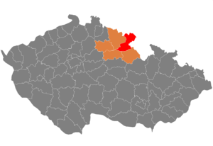District location in the Hradec Kralove Region within the Czech Republic