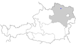 Map of Austria, position of Horn highlighted