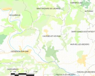 Causses-et-Veyran - Map