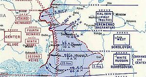 Battle of Smolensk (1943) - A detail of the Smolensk offensive, showing the concave shape of the Soviet front line.