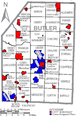 Butler County, Pennsylvania - Map of Butler County, Pennsylvania with Municipal Labels showing Cities and Boroughs (red), Townships (white), and Census-designated places (blue).