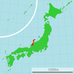Map of Japan with Ishikawa highlighted
