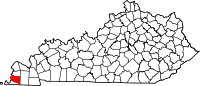 Map of Kentucky highlighting Hickman County