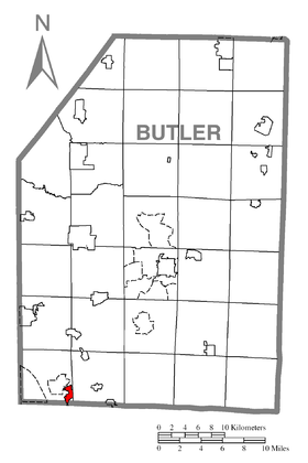 Map of Seven Fields, Butler County, Pennsylvania Highlighted.png