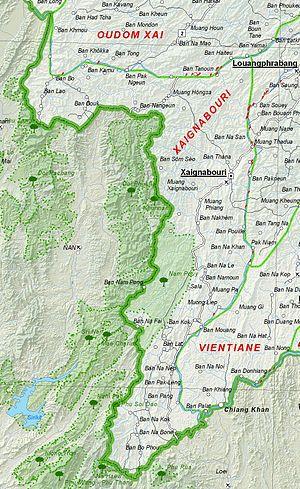 Sainyabuli Province - Image: Map of Xaignabouri Province, Laos
