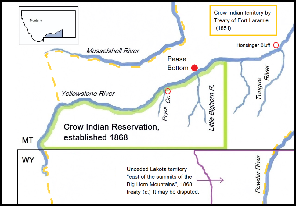 Map with the Battlefield of Pease Bottom, Montana (1873) and relevant Indian territories
