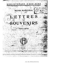 Henri Maréchal: Lettres et souvenirs: 1871-1874